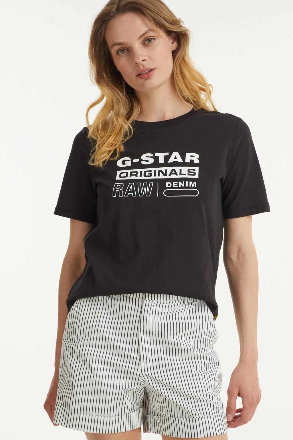 G-Star RAW T-shirt van biologisch katoen wit, Zwart