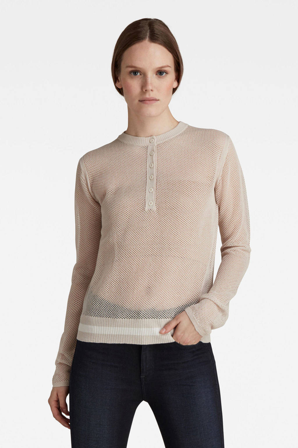 G-Star RAW mesh sweater Henley lichtroze, Lichtroze