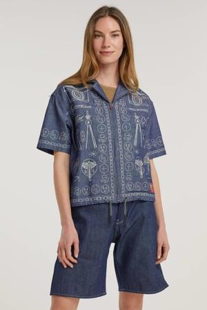 top Hawaiian shirt printed met printopdruk blauw