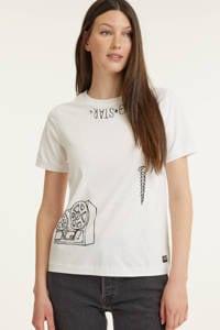 G-Star RAW T-shirt met printopdruk wit, Wit