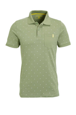 slim fit polo met all over print oil green