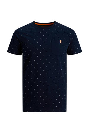 T-shirt And met all over print donkerblauw