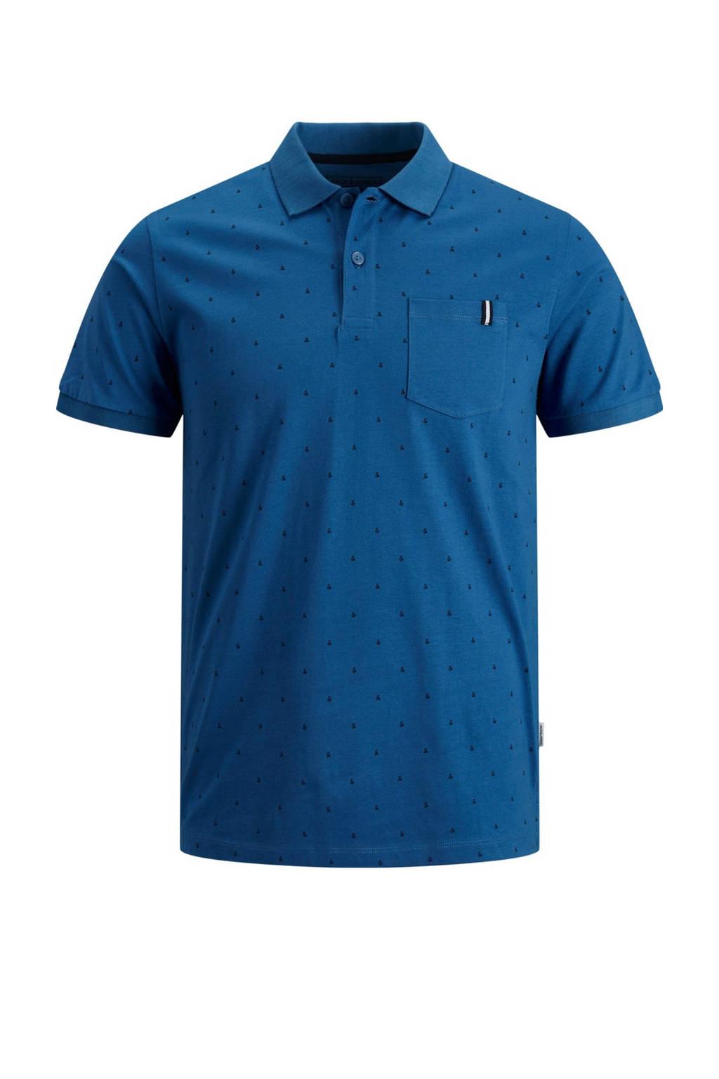 JACK & JONES CORE slim fit polo met all over print blauw, Blauw