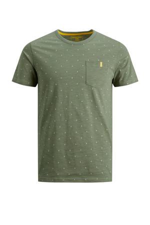 T-shirt And met all over print olijfgroen