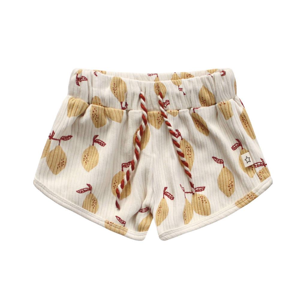 Your Wishes regular fit korte broek met fruitprint ecru/geel, Zachtgeel/geel