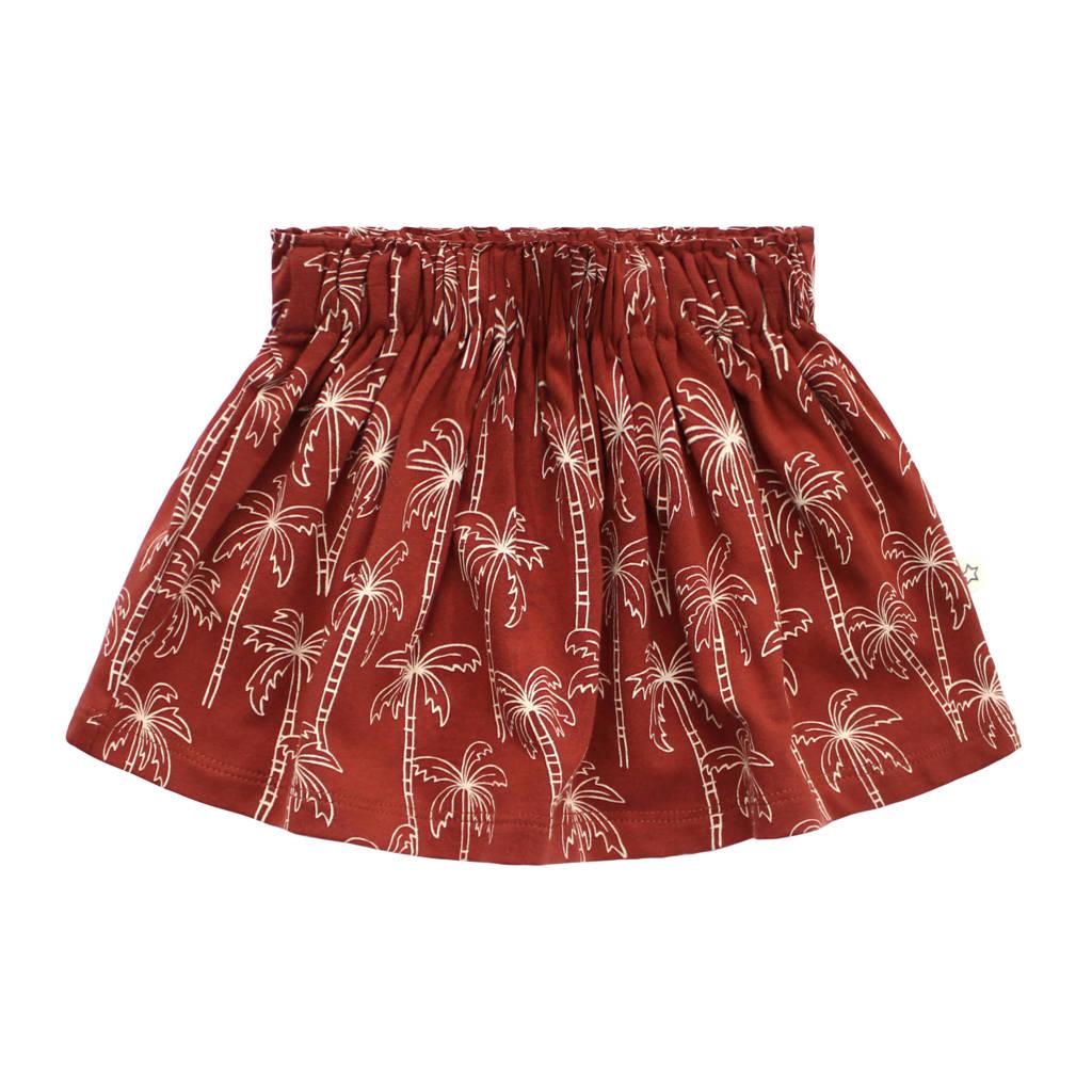 Your Wishes baby rok met all over print en plooien roodbruin, Roodbruin