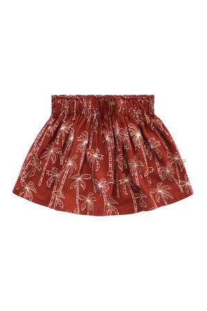 baby rok met all over print en plooien roodbruin