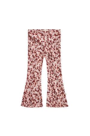 gebloemde flared broek roze/roodbruin/wit