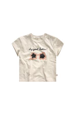 T-shirt met printopdruk ecru/geel