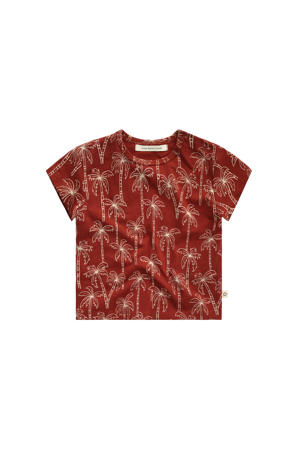 T-shirt met all over print roodbruin