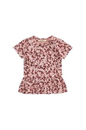 T-shirt met all over print roodbruin/wit