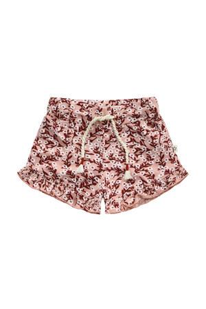 gebloemde regular fit sweatshort roze/roodbruin/wit