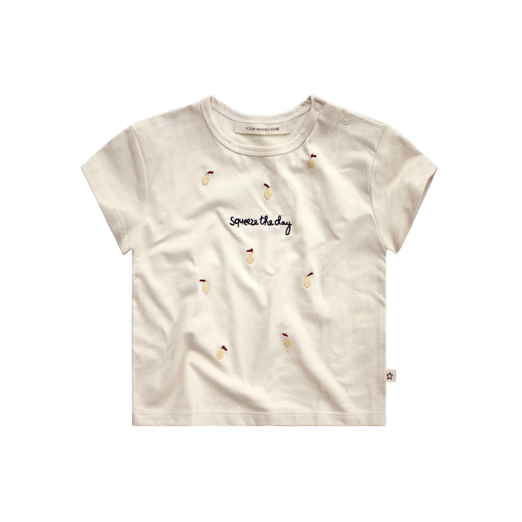 Your Wishes T-shirt met all over print ecru/geel, Ecru/geel