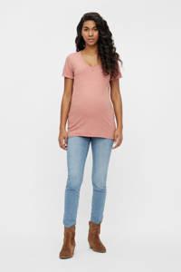 MAMALICIOUS zwangerschapsshirt Kadja van gerecycled polyester zalm/goud, Zalm/goud