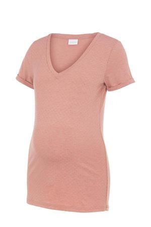 zwangerschapsshirt Kadja van gerecycled polyester zalm/goud