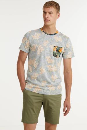 T-shirt Bruce van biologisch katoen grijs/blauw/bruin