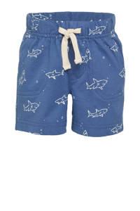 GAP baby regular fit sweatshort met biologisch katoen blauw/wit, Blauw/wit