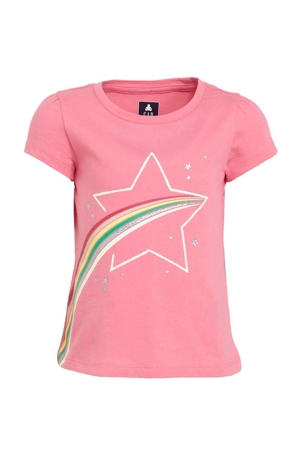 GAP T-shirt met printopdruk roze, Roze