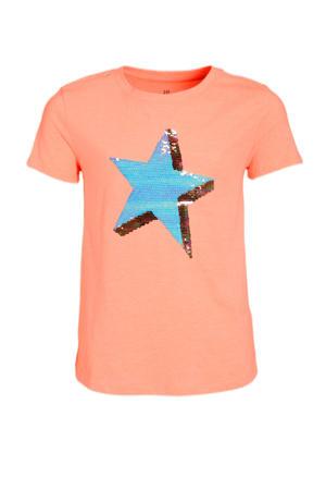 T-shirt met reversible pailletten lichtoranje