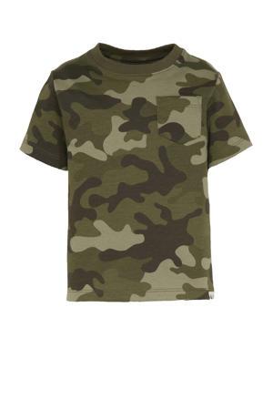 T-shirt met camouflageprint groen