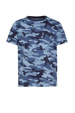 T-shirt met camouflageprint blauw