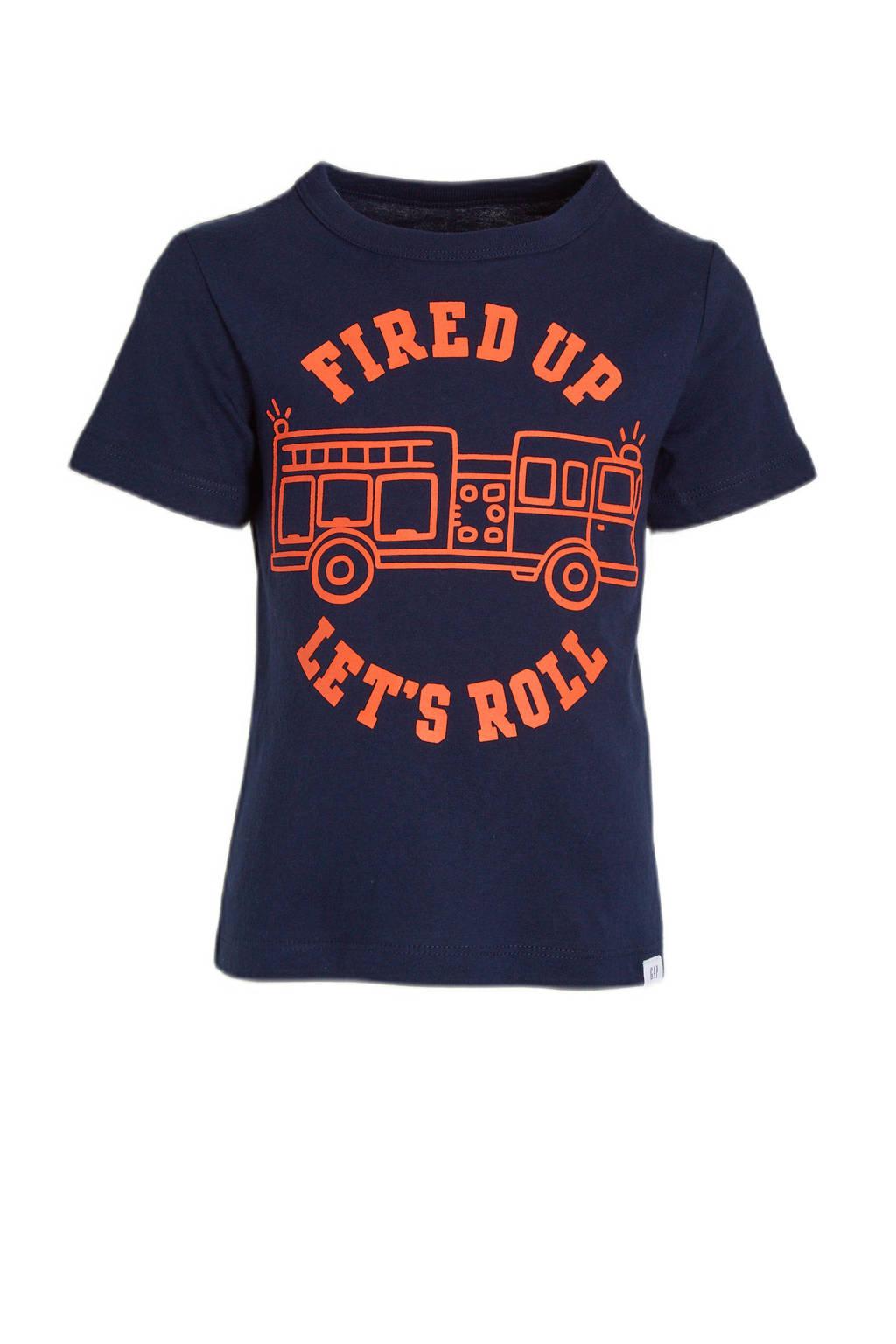 GAP T-shirt met printopdruk donkerblauw/rood, Donkerblauw/rood
