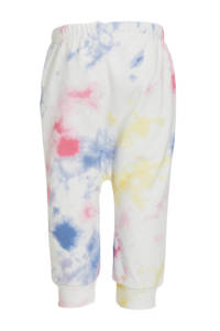 GAP baby tie-dyeloose fit joggingbroek wit/roze/geel/blauw, Wit/roze/geel/blauw