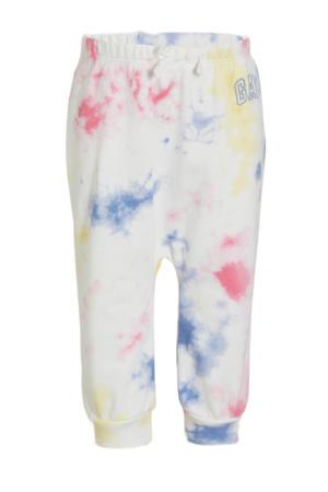baby tie-dyeloose fit joggingbroek wit/roze/geel/blauw