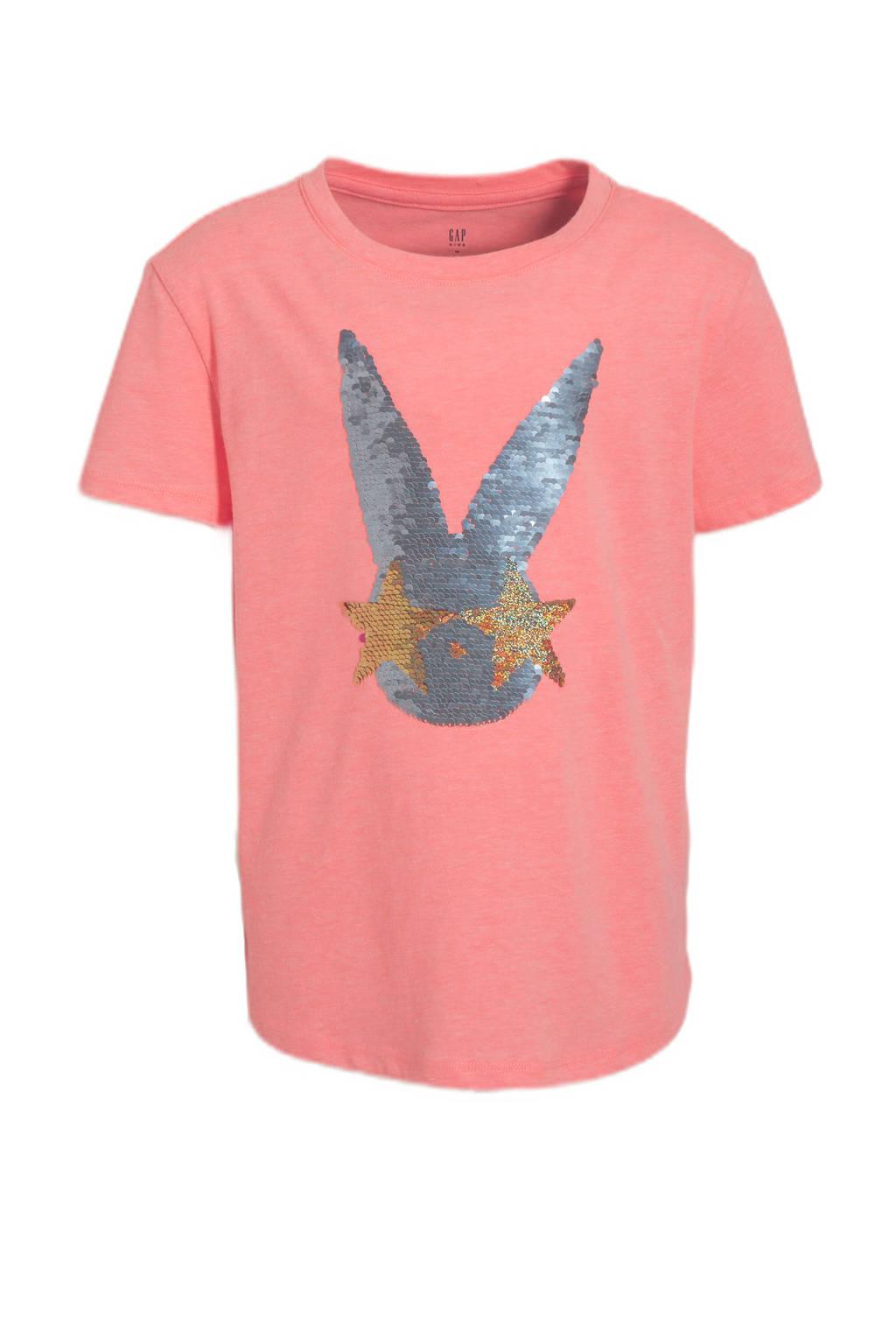 GAP T-shirt met reversible pailletten roze, Roze