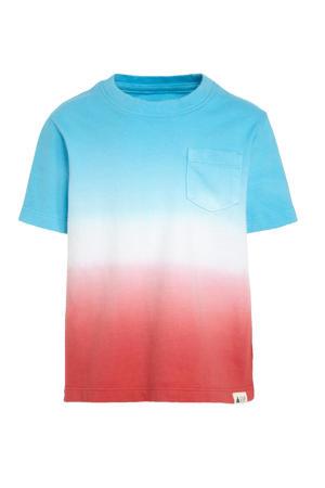 dip-dye T-shirt blauw/rood/wit