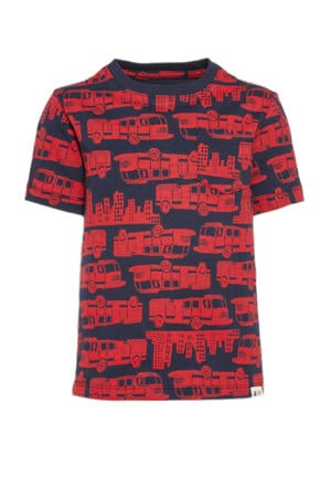 T-shirt met all over print rood/donkerblauw