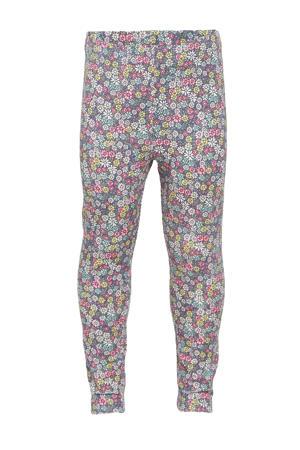 gebloemde legging roze/geel/grijs/groen