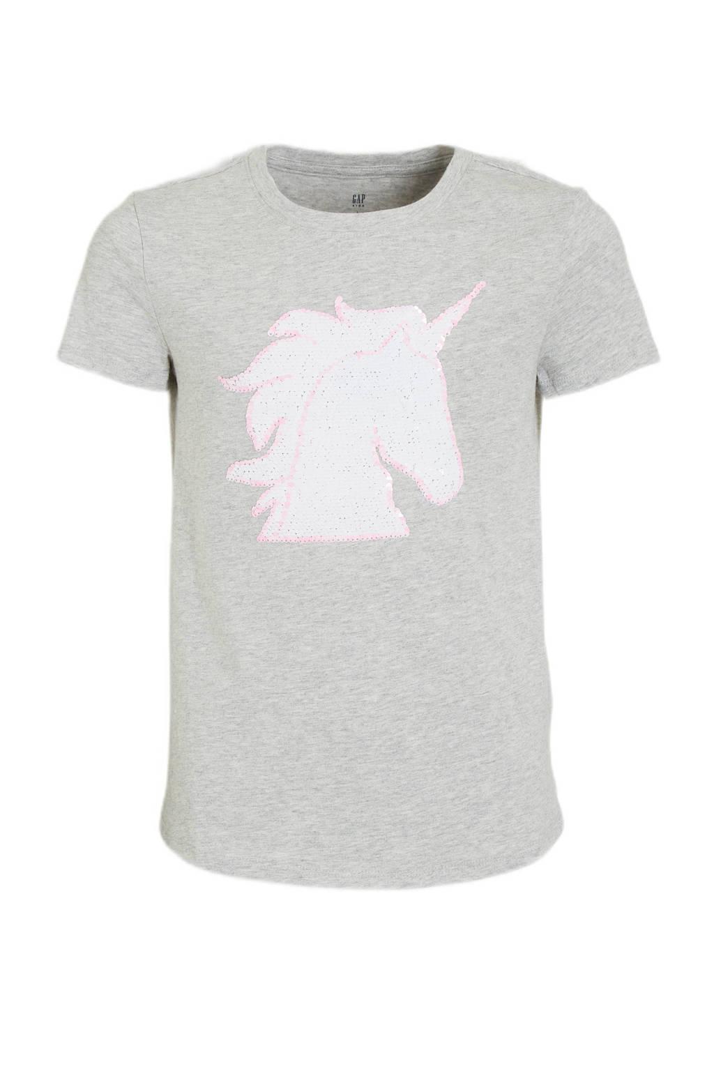 GAP T-shirt met reversible pailletten lichtgrijs, Lichtgrijs