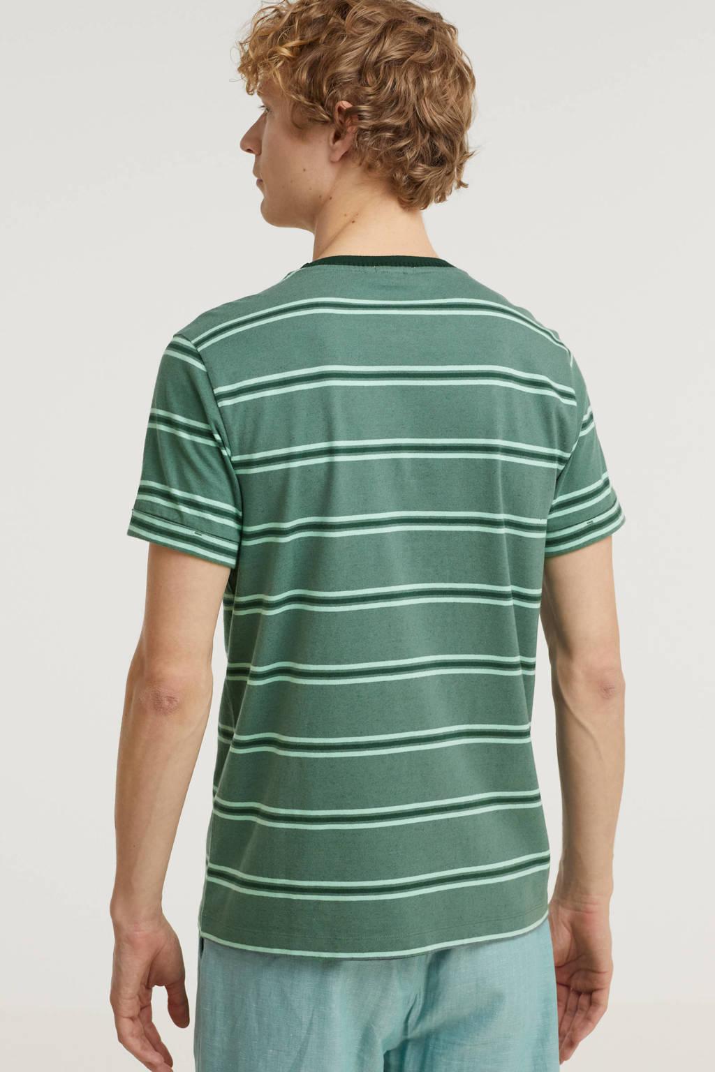 Cast Iron gestreept T-shirt groen, Groen