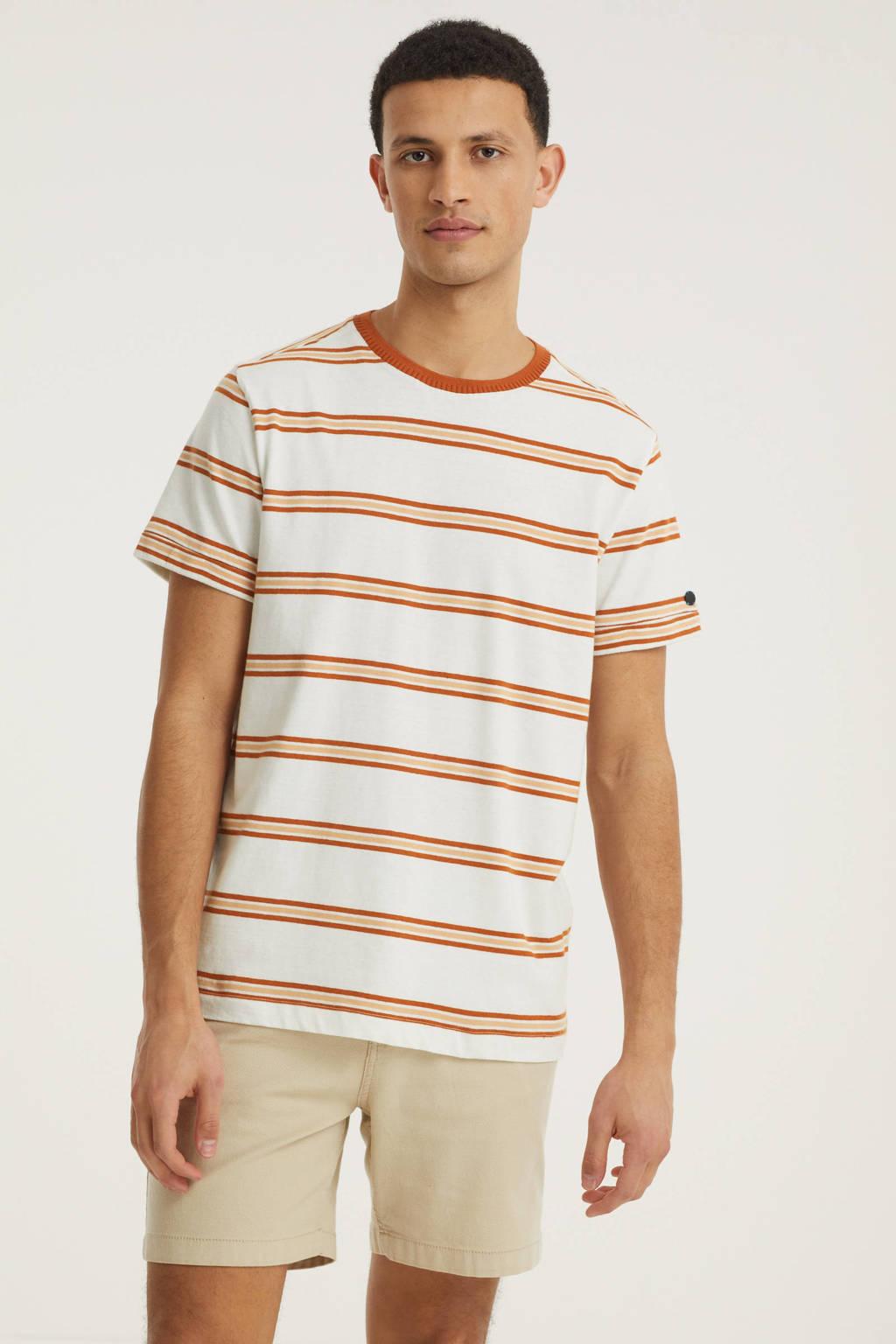 Cast Iron gestreept T-shirt ecru/oranje, Ecru/oranje
