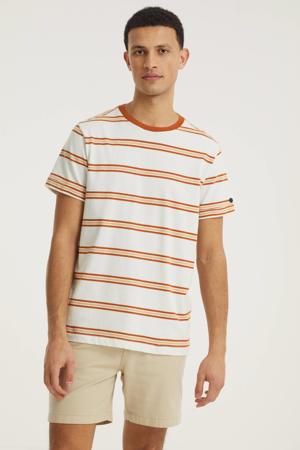 gestreept T-shirt ecru/oranje