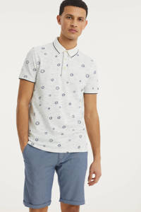 Cast Iron slim fit polo met all over print wit/blauw, Wit/blauw