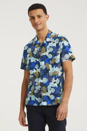 regular fit overhemd met all over print blauw/beige