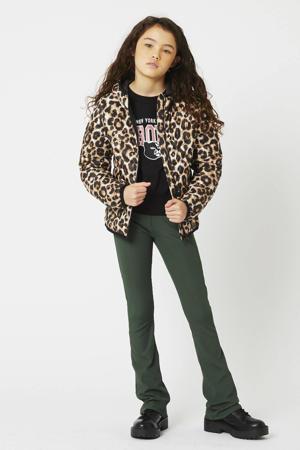 gewatteerde jas Jenna met panterprint zwart/bruin