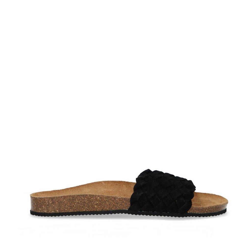 Manfield   suède gevlochten slippers zwart, Zwart