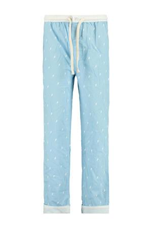 regular fit pyjamabroek Lake met all over print lichtblauw