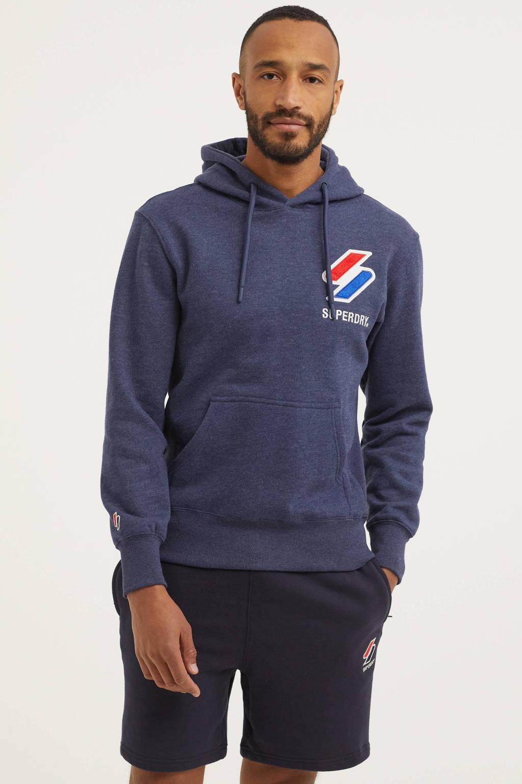 Superdry hoodie met logo donkerblauw melange, Donkerblauw melange