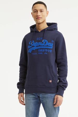 hoodie Chenille met logo donkerblauw