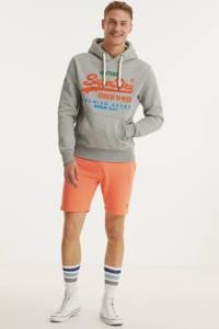 Superdry hoodie met logo grijs melange, Grijs melange