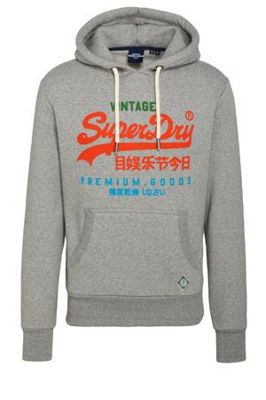 hoodie met logo grijs melange