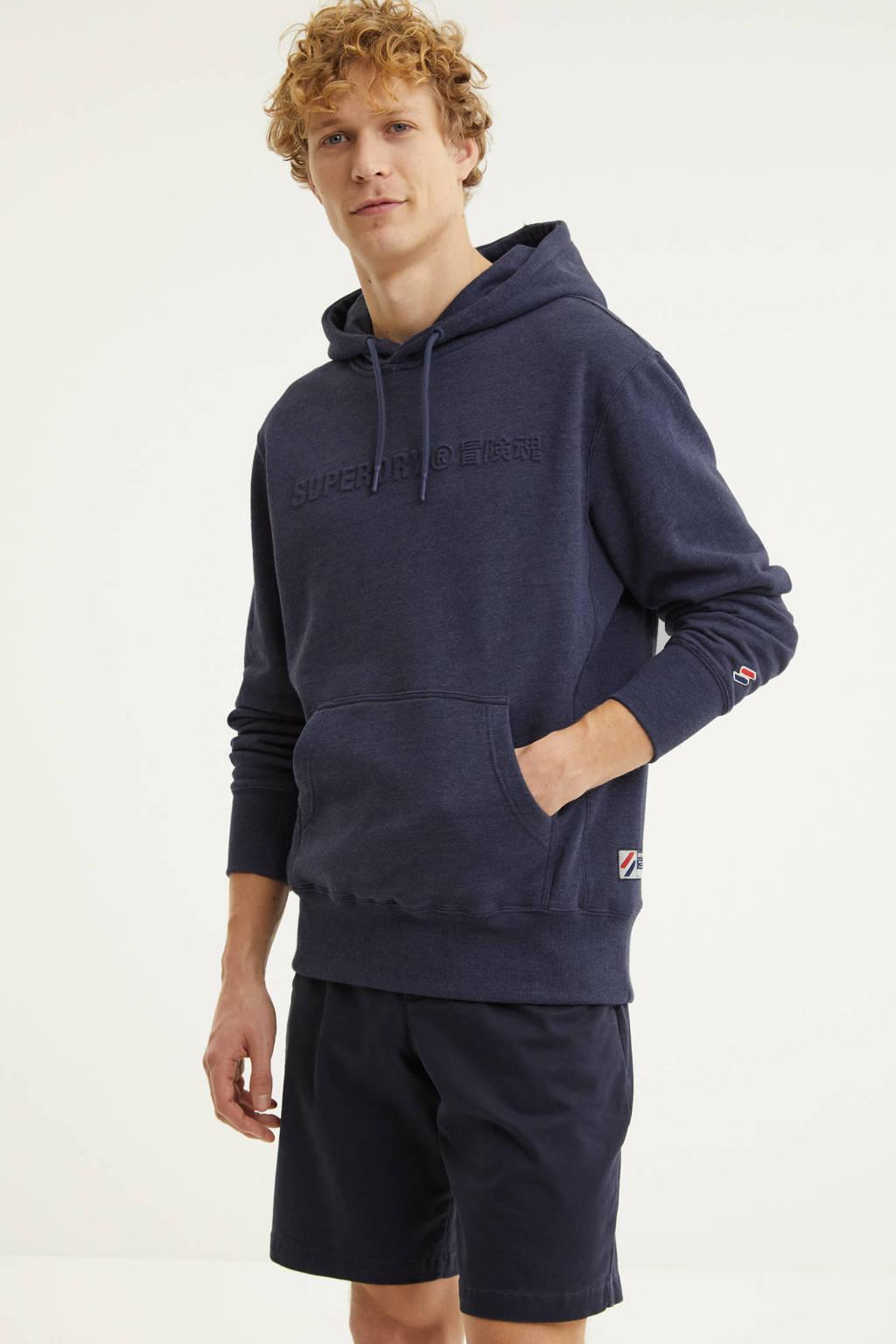 Superdry hoodie met logo blauw melange