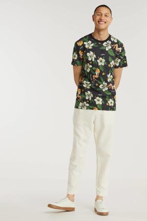 gebloemd T-shirt zwart/groen