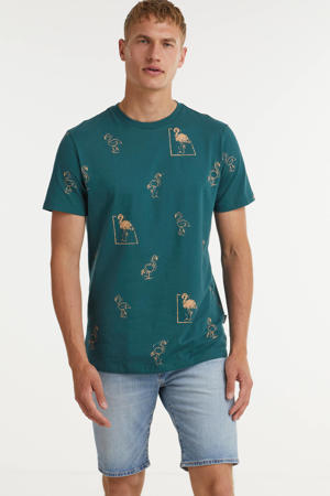T-shirt Flamingo van biologisch katoen petrol