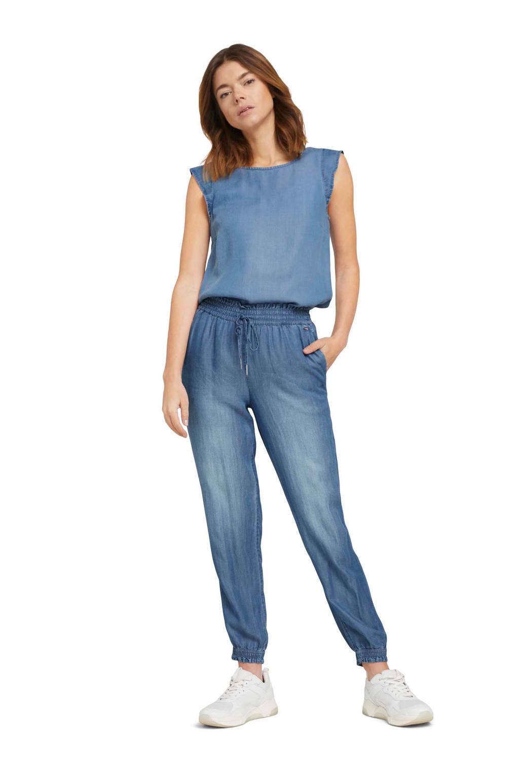 Tom Tailor Denim high waist tapered fit broek blauw, Blauw