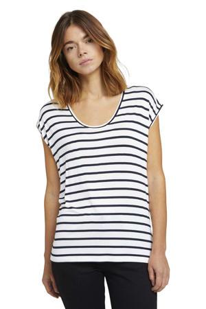 gestreept T-shirt wit/blauw